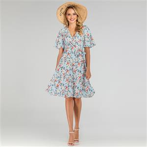 Cute Summer Swing Dress, Retro OL Dresses for Women 1960, Vintage Floral Printed Dresses 1950's, Plus Size Summer Dress, Vintage Dress for Women, Vintage Office Lady Dresses for Women, Vintage Spring Dresses for Women, #N19505