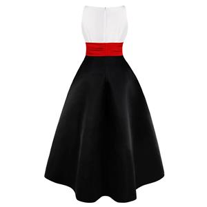Vintage Black Sleeveless Round Neck High Waist High-low Skirt Cocktail Party Dress N18755