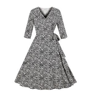 Elegant Swing Dress, Retro Zebra Print Dresses for Women 1960, Vintage Dresses 1950's, Plus Size Summer Dress, Vintage Dress for Women, Simple V Neck Swing Dresses for Women, Vintage Spring Dresses for Women, #N18756