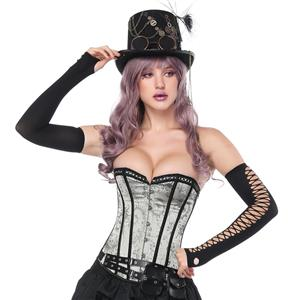 Women's Vintage Gothic Silver Floral Jacquard Strapless Overbust Corset N16212