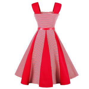 Vintage Striped Splicing Waist Belt Swing Dress N12957