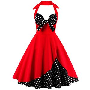 Retro Dresses for Women 1960, Vintage Dresses 1950's, Vintage Dress for Women, Backless Red Dresses for Women, Sexy Summer Halter Dresses for Women, #N12501