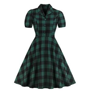 Elegant Checkered Swing Dress, Retro Tartan Dresses for Women 1960, Vintage Dresses 1950's, Plus Size Summer Dress, Vintage Plaid Dress for Women, Simple Lapel Swing Dresses for Women, Vintage Spring Dresses for Women, #N18757
