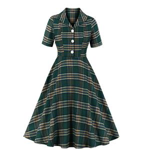 Elegant Checkered Swing Dress, Retro Tartan Dresses for Women 1960, Vintage Dresses 1950's, Plus Size Summer Dress, Vintage Plaid Dress for Women, Simple Lapel Swing Dresses for Women, Vintage Spring Dresses for Women, #N20965