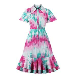 Tie-dye Print Party Dresses, Cute Summer Swing Dress, Retro Floral Print Dresses for Women 1960, Vintage Dresses 1950's, High Waist Dresses for Women, Floral Print Dresses, Vintage Summer Day Dress, #N20854