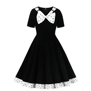Retro Dresses for Women 1960, Vintage Dresses 1950's, Vintage Dress for Women,Short Sleeves Black Dresses for Women, Sexy Summer V Neck Dresses for Women, #N20956