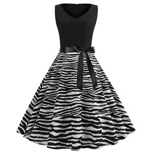 Sexy Zebra Print A-line Swing Dress, Retro Zebra Print Dresses for Women 1960, Vintage Dresses 1950's, Plus Size Summer Dress, Vintage Zebra High Waist Dress for Women, Simple V Neck Swing Dresses for Women, Vintage Spring Dresses for Women, #N18825