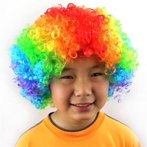 Funny Quirky Wigs, Cheap Curly Wigs, Unisex Multi-color Wigs, Wild-curl up Clown Wigs, Wild Curl up Hairpiece, #MS16078