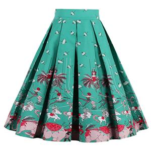 1950's Vintage Skater Skirt, Sexy Skater Skirt for Women, A Line Pleated Skirt, Floral Print Skirt, #HG12794