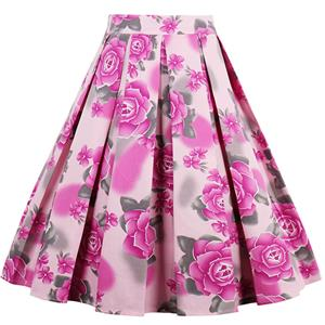 1950's Vintage Skater Skirt, Sexy Skater Skirt for Women, A Line Pleated Skirt, Floral Print Skirt, #HG12790
