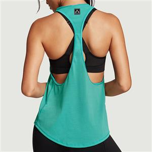 Green Tank Top, Fitness and Yoga Tank Top, Cheap Outside Sports Shirts, Gymnastics Tank Tops, Women's Yoga Tank Tops, Racerback Tank. #N10982