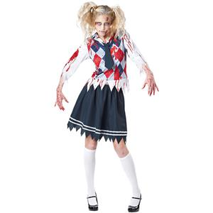 Hot Sale Halloween Costume, Crazy Scary Costume, Women's Scary Zombie Costume, School Uniform Costume, Adult Costume, Bloody Costume, #N11802