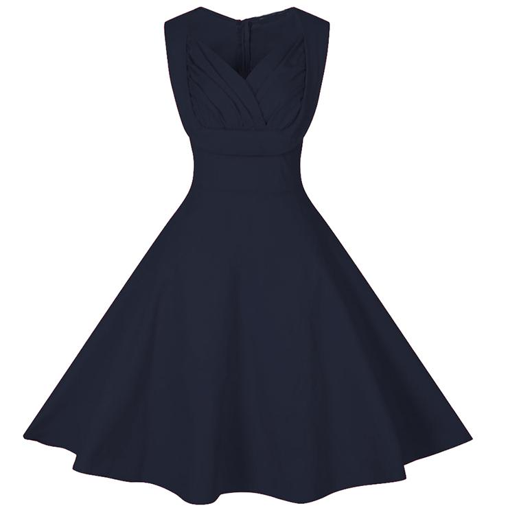 Formal Dresses - 1950's Vintage Plain Cut Out V-Neck ...