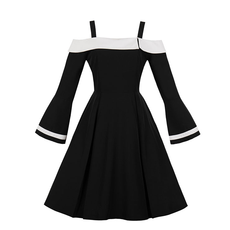 Black Elegant Gallus Off Shoulder Long Sleeve Hight Waist Hepburn Style Midi Dress N18266