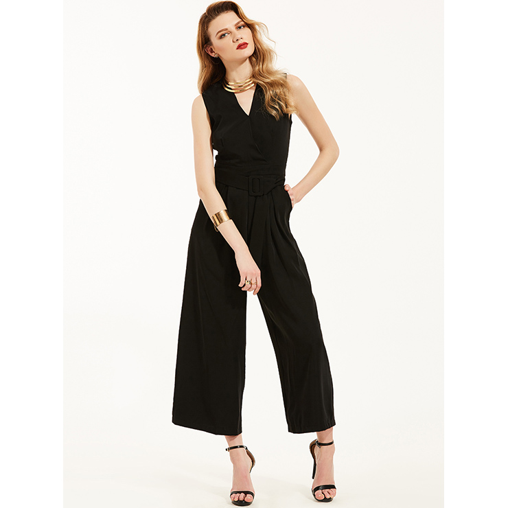 Vince Camuto V-neck jumpsuit in navy Sleeveless Side pockets Hidden back zip with hook-and-eye closure Lined Approx. inseam: 32 3/4