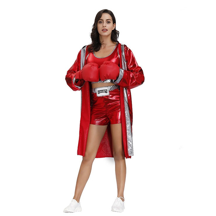 3Pcs Women's Red World Champion Boxing Clothing Adult Cosplay Costume N20496