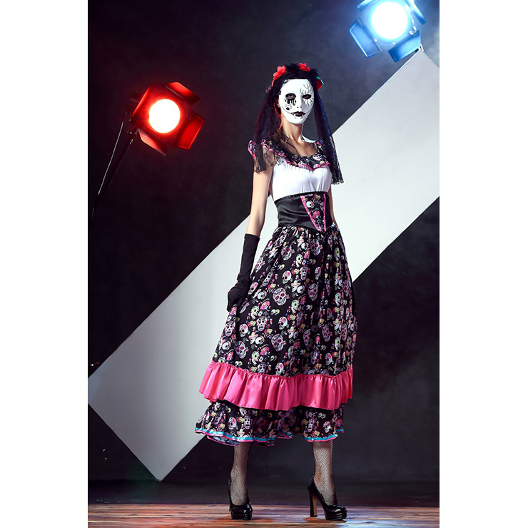 day of death porcelain doll skull print dress adult halloween costume n11693