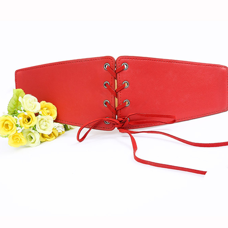 Fashion Red Leather Front Lace-up Elastic Wide Girdle Waist Belt N15194