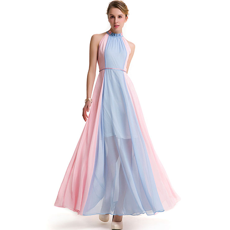 Deluxe Sheer Chiffon Patchwork Sleeveless Mesh Floor Length Ball Gown Long Dress N18763