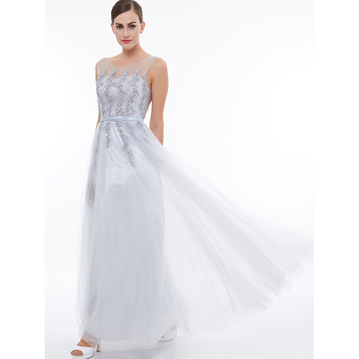 Women\'s Elegant White Round Neck Sleeveless Tulle Appliques Evening ...