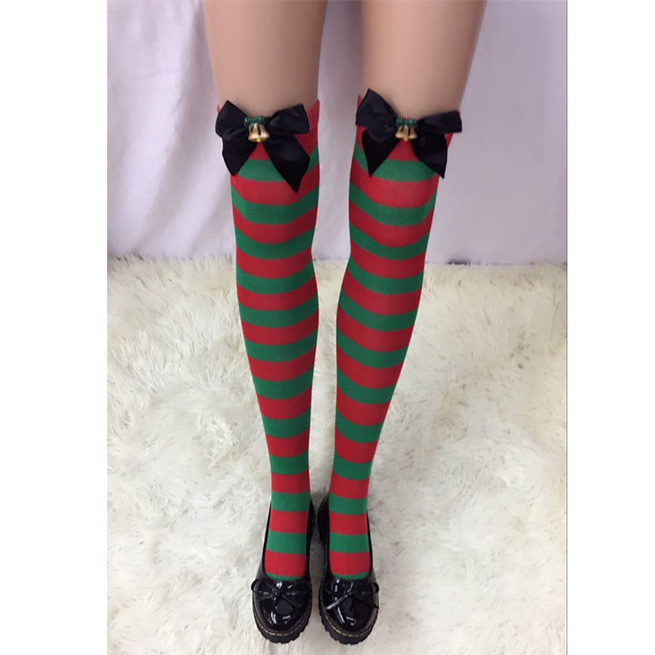 Christmas Red and Green Stripes Stockings with Bowknot and Bell Maid Cosplay Stockings HG18549