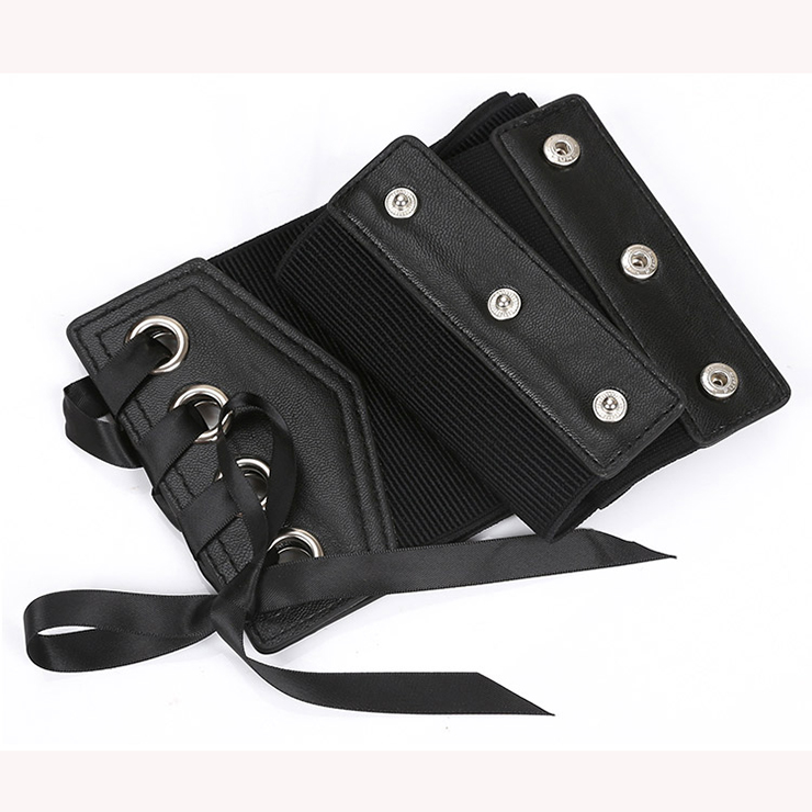 Fashion Leather Lace-up Elastic Wide Waist Corset Belt N15208
