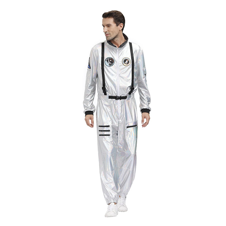 Fashion Men Silver One-piece Space Suit Adult Astronaut Jumpsuit Cosplay Costume N20593
