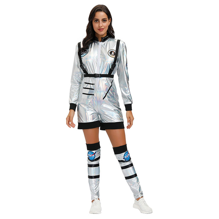 Fashion Women Silver Space Suit Adult Astronaut Jumpsuit Cosplay Costume N20594