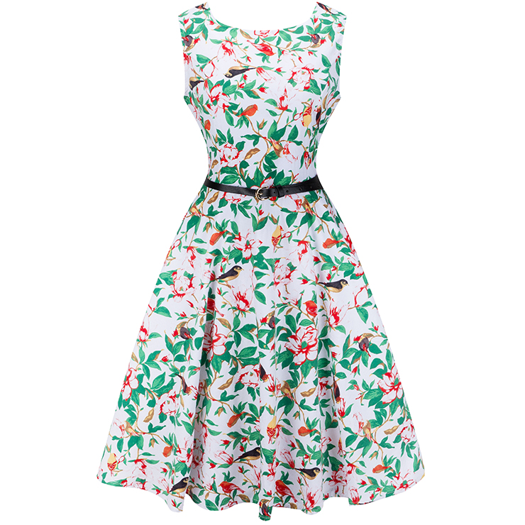 1950's Vintage Floral Print Sleeveless Cocktail Party Swing Dress with Belt N12513