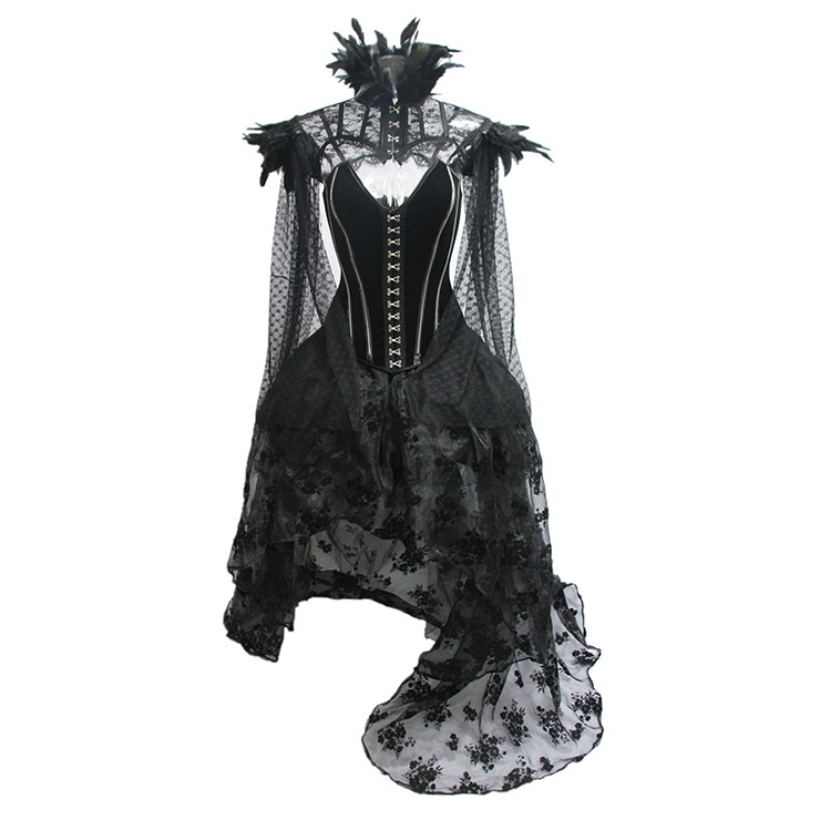 Victorian Gothic Steel Boned Overbust Corset Feather Collar Scarf Organza High Low Skirt Set N19601
