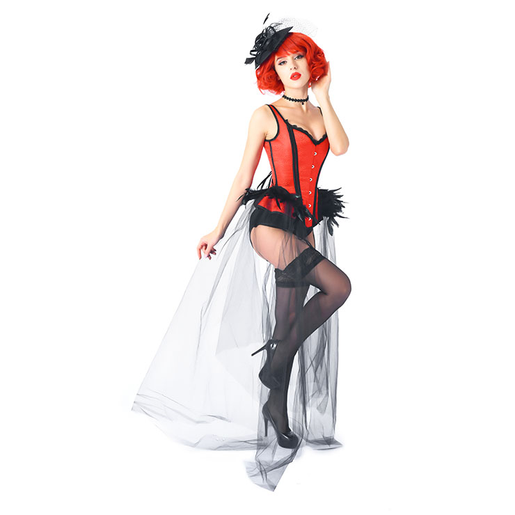 Gothic Red Feather Jacquard Buckle Shoulder Straps Gauze Hem Corset With Pantie Set N20238