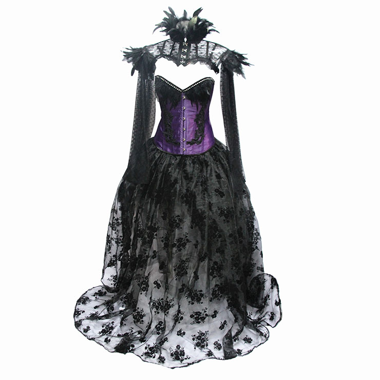 Victorian Gothic Satin Overbust Corset Feather Collar Shrug Organza High Low Skirt Set N19603