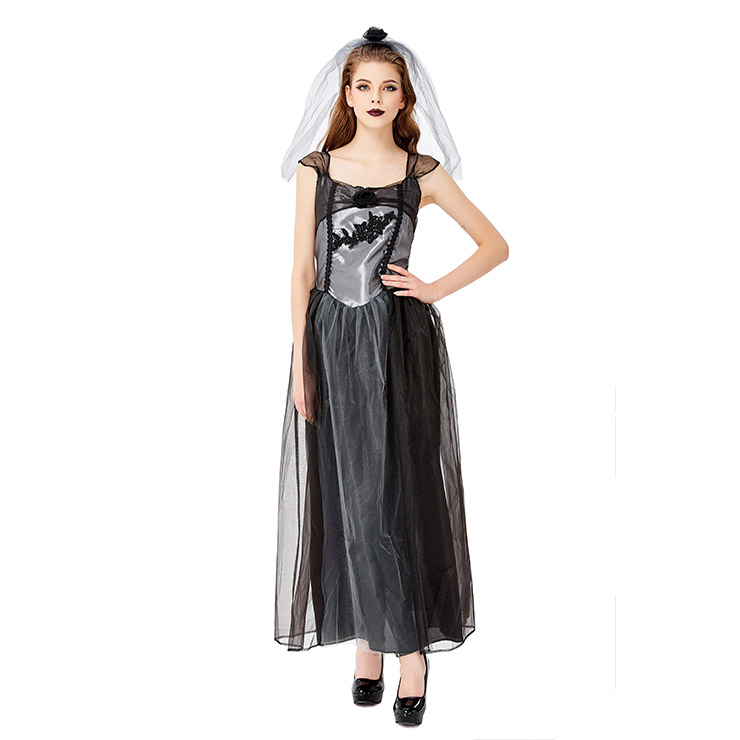 Gothic Vampire Multi-layered Mesh Long Wedding Dress Adult Ghost Bride Costume N19443