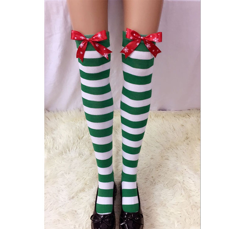 Christmas Green-white Strips with Red Snowflake Printed Bowknot Maid Cosplay Stockings HG18542