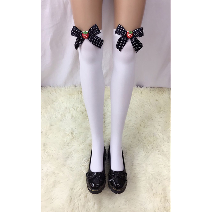 Lovely White Anime Stockings with Black Bowknot and Strawberry French Maid Cosplay Stockings HG18489
