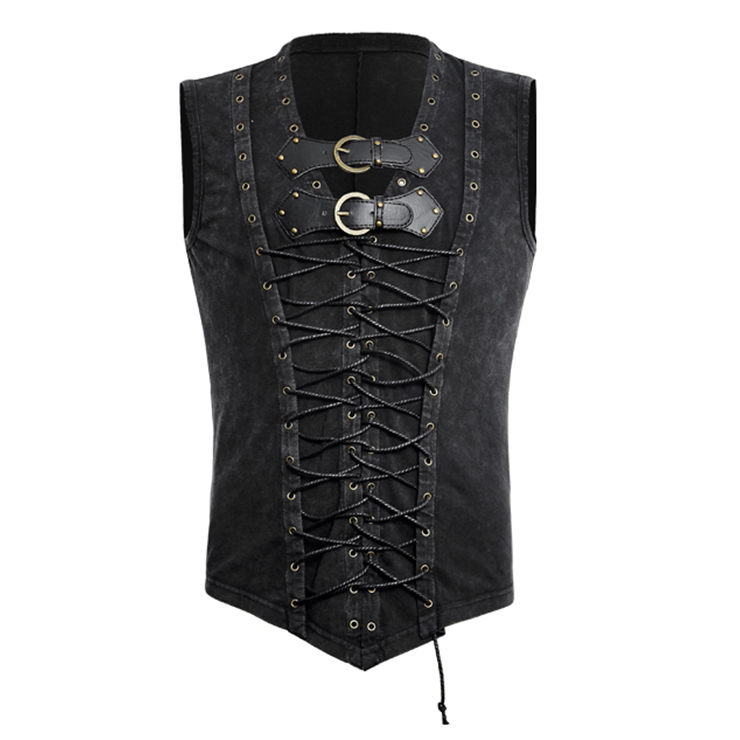 Steampunk Vest for Men, Men's Gothic Retro PU Waistcoat, Sexy Clubwear for Men, Halloween Costumes, Men's Sexy Costume, Men's Corset, Sexy Club Wear for Men, #N19283