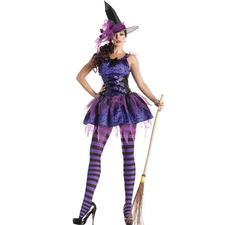 Nitty Sexy Purple Moon Star Witch Halloween Adult Costume N18177