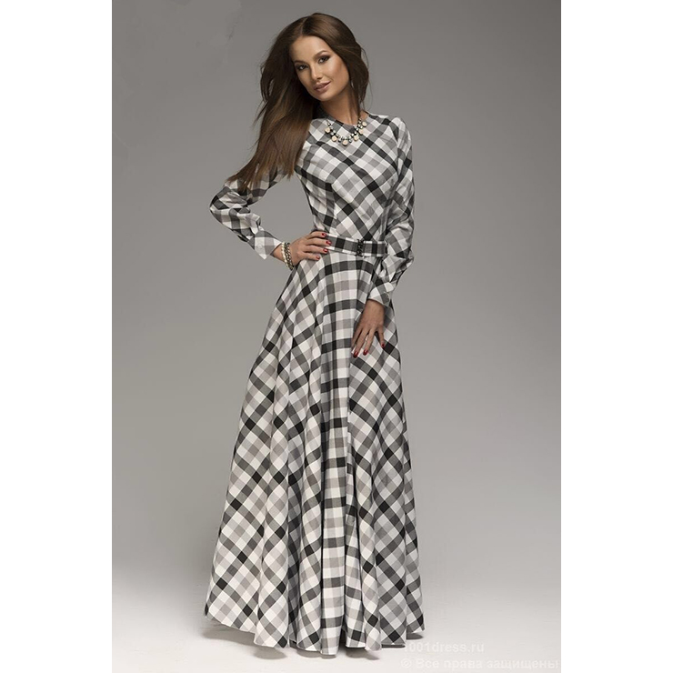 Formal Dresses Classic Vintage Paid Long Sleeve Maxi Casual