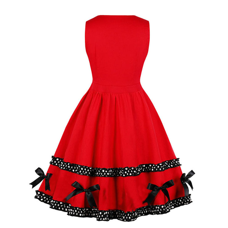 Red Black Elegant Round-neck Buttons Bowknots Sleeveless High Waist Midi A-dress N18268