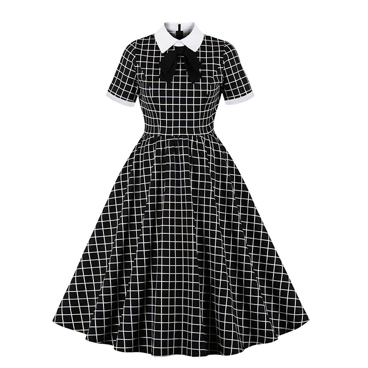 Retro Lapel Tie Short Sleeve Plaid Print Party A-line Swing Dress N20963