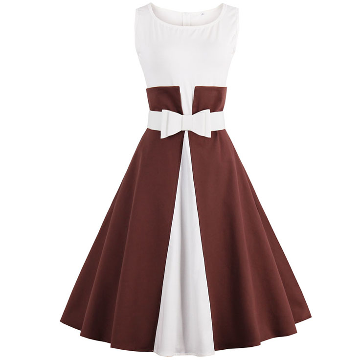 Retro style Scoop Neck Sleeveless Cocktail Swing Dress N12755