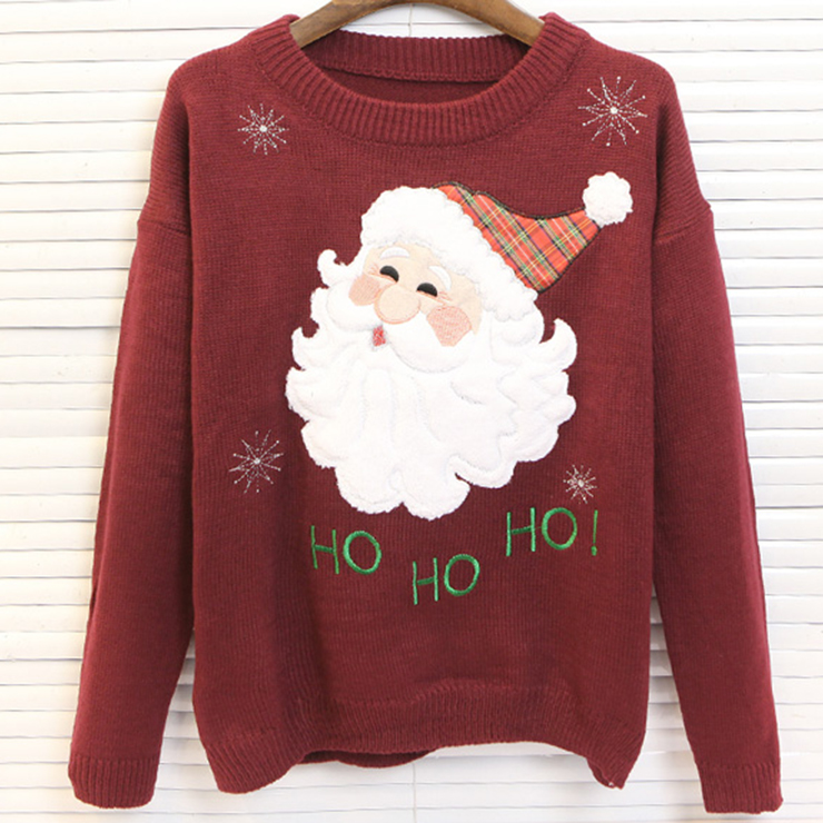 Cute Santa Snowflakes Knitted Sweater Pullover N12260