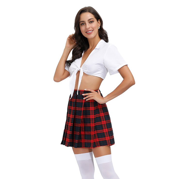 Sexy White Short Sleeve Crop Top Plaid Skirt Sets School Girl Cosplay Adult Costume N20602