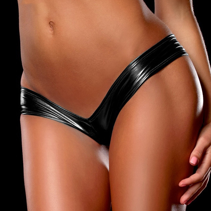 Sexy Black Faux Leather Night Club Panties PT16476