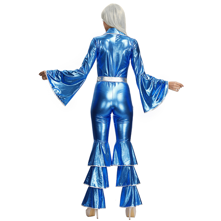 70s Disco Dancing Queen Glossy Stretchy Jumpsuit Costume Adult Fancy Flared Outfit N19622