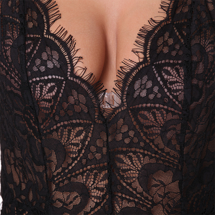 Sexy Black Sheer Floral Lace Spaghetti Straps Low-cut Stretchy Teddies Lingerie N18838