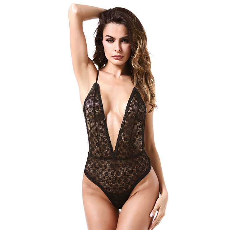 Sexy Black Sheer Floral Lace Low-cut Y Back High Waistline Stretchy Bodysuit Teddies Lingerie N18841