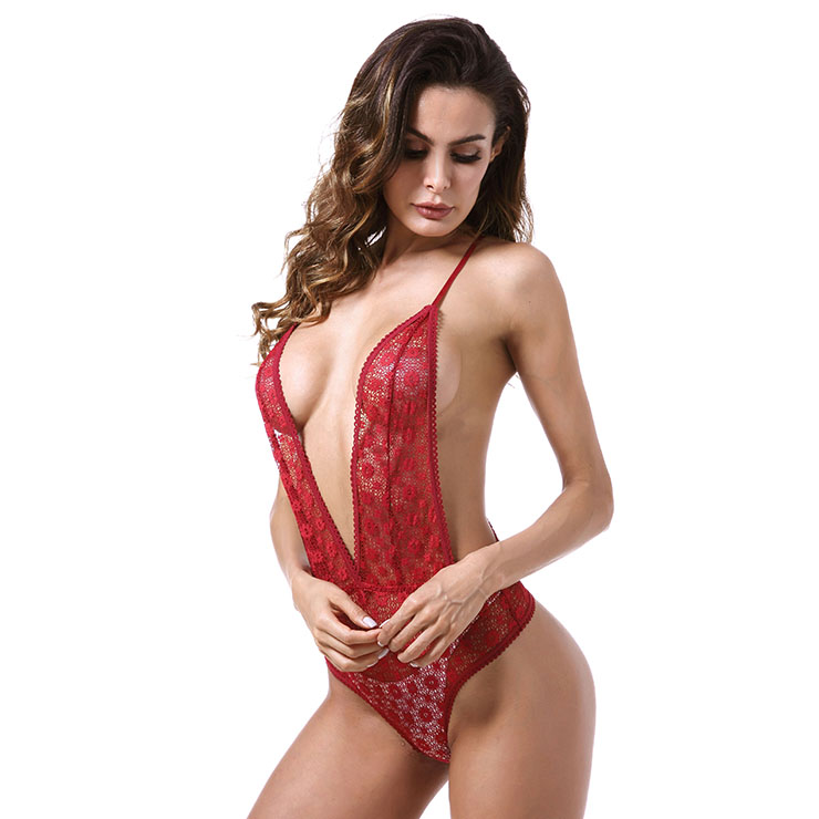 Sexy Red Sheer Floral Lace Low-cut Y Back High Waistline Stretchy Bodysuit Teddies Lingerie N18842