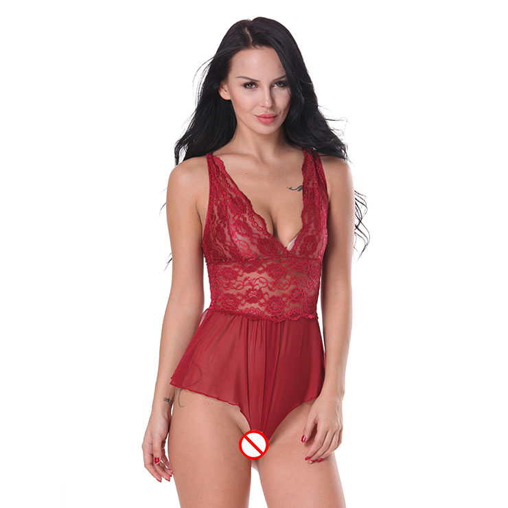 Sexy Sheer Floral Lace Low-cut Cross Back Stretchy Open Crotch Bodysuit Teddies Lingerie N19288