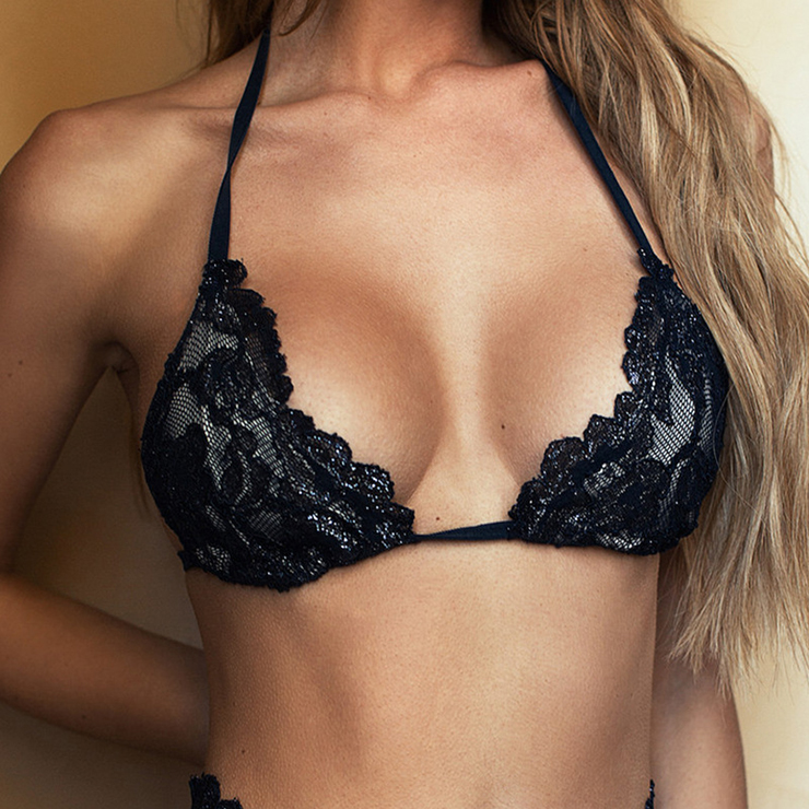 Sexy Black Floral Lace Halter Bra and High Waist Panty N17644